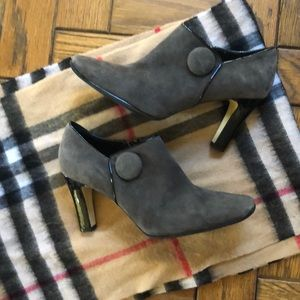 Franco Sarto Gray Suede Button Ankle Boots